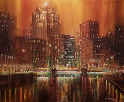 City At Night Painting - Milwaukee River Downtown by Tom Shropshire