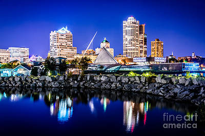 Milwaukee Skyline At Night Photo In Blue Print by Paul Velgos