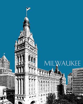 Milwaukee Skyline City Hall - Steel Print by DB Artist