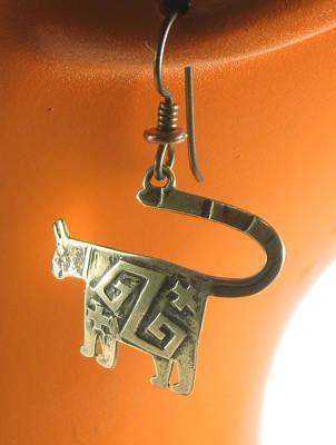 Dangle Earrings Jewelry - Mimbres Jaguar Southwest Bronze Earrings by Vagabond Folk Art - Virginia Vivier