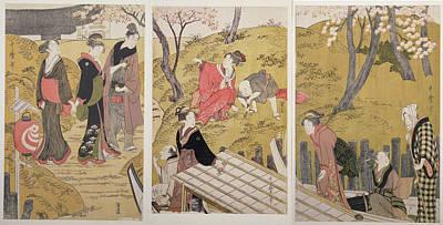 Mimeguri No Dote = The Embankment At Mimeguri Print by Artokoloro