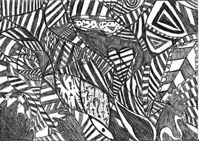 Abstract Movement Drawing - Mind  Full Of Miracles by Rowan Van Den Akker