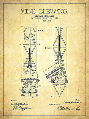 Miner Drawing - Mine Elevator Patent From 1892 - Vintage by Aged Pixel