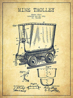Trolley Drawing - Mine Trolley Patent Drawing From 1903 - Vintage by Aged Pixel