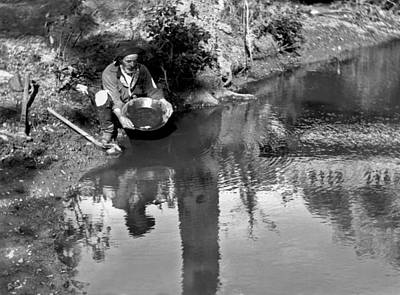 Prospecting Photograph - Miner Panning For Gold by Underwood Archives