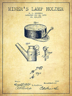 Miner Drawing - Miners Lamp Holder Patent From 1890 - Vintage by Aged Pixel