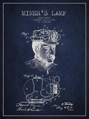 Miner Drawing - Miners Lamp Patent Drawing From 1913 - Navy Blue by Aged Pixel