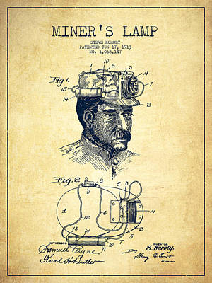Miner Drawing - Miners Lamp Patent Drawing From 1913 - Vintage by Aged Pixel