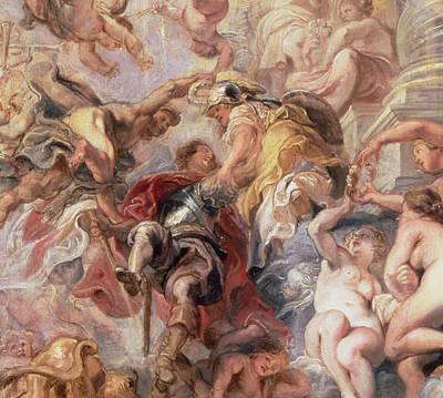 Minerva And Mercury Conduct The Duke Of Buckingham Print by Rubens