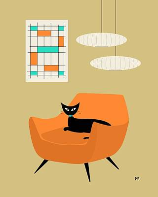 Eames Chair Digital Art - Mini Abstract With Orange Chair by Donna Mibus