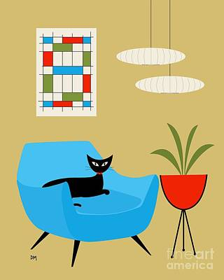 Eames Chair Digital Art - Mini Abstract With Turquoise Chair by Donna Mibus