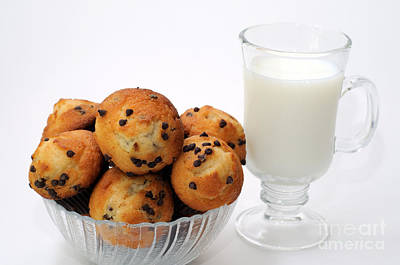 Mini Chocolate Chip Muffins And Milk - Bakery - Snack - Dairy - 1 Print by Andee Design