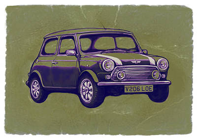 Co2 Drawing - Mini Cooper - Car Art Sketch Poster by Kim Wang