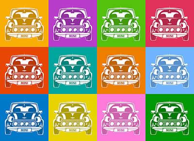 Austin Digital Art - Mini Cooper Squares by Michael Tompsett