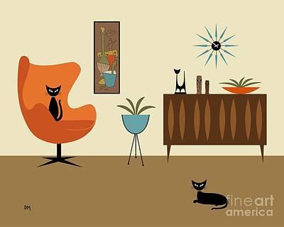 Black Cat Digital Art - Mini Gravel Art 3 by Donna Mibus