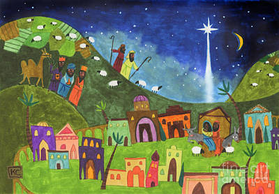 Night Drawing - Mini Nativity by Kate Cosgrove