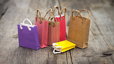 Buy Sell Photograph - Miniature Shopping Bags by Aged Pixel
