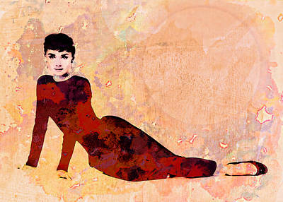 Audrey Hepburn Mixed Media - Minimal Audrey Hepburn by Georgiana Romanovna