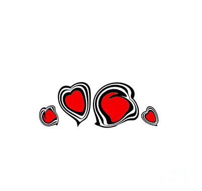 Concentration Digital Art - Hearts Minimalism Black White Red Abstract Art No.105. by Drinka Mercep