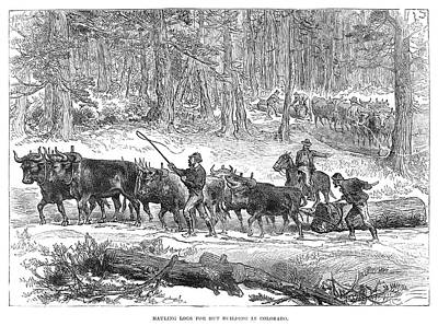 Logging Painting - Mining Camp Logs, 1880 by Granger