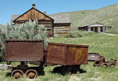 Mining Rail Cars Bannack Montana Print by Bruce Gourley