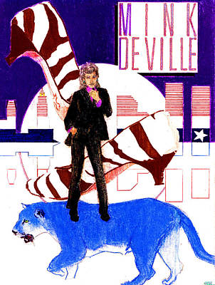 New Moon Drawing - Mink Deville - Le Chat Bleu by Sean Connolly