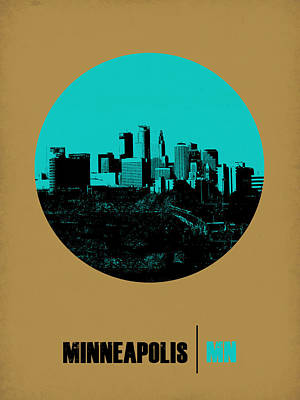 Minnesota Digital Art - Minneapolis Circle Poster 1 by Naxart Studio