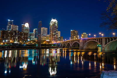 Minneapolis Skyline Photograph - Minneapolis City Lights by Mark Goodman
