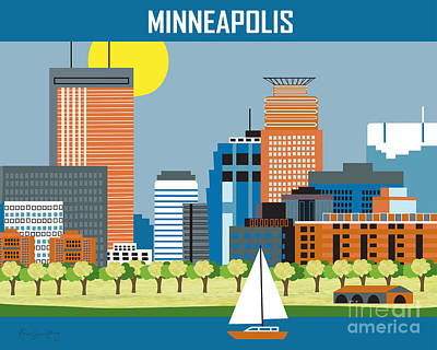 Lakeshore Digital Art - Minneapolis by Karen Young