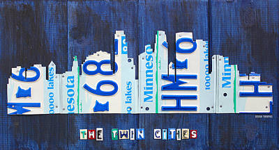 Twins Mixed Media - Minneapolis Minnesota City Skyline License Plate Art The Twin Cities by Design Turnpike