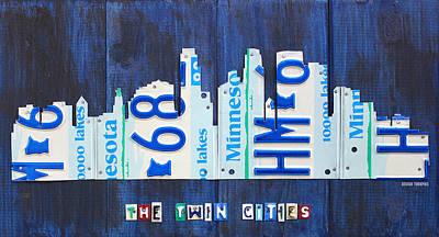 Minnesota Mixed Media - Minneapolis Minnesota City Skyline License Plate Art The Twin Cities by Design Turnpike