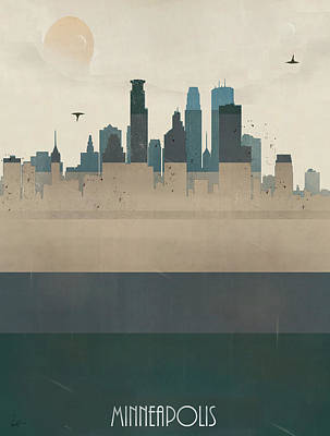 Colourfull Painting - Minneapolis Minnesota Skyline by Bri B