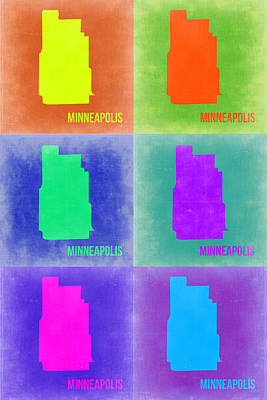 City Map Painting - Minneapolis Pop Art Map 3 by Naxart Studio