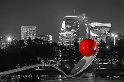 Minneapolis Skyline And Cherry Print by Near and Far Photography