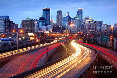 Minneapolis Skyline At Dusk Early Evening Print by Jon Holiday