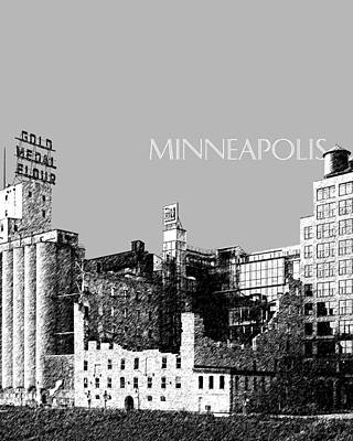 Pen Digital Art - Minneapolis Skyline Mill City Museum - Silver by DB Artist