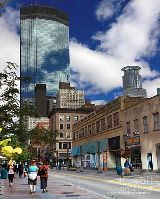 Minneapolis Skyline Photograph - Minneapolis Skyline Photography Nicollet Mall by Wayne Moran