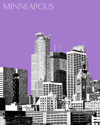 Minnesota Digital Art - Minneapolis Skyline - Violet  by DB Artist