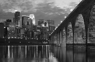 Minneapolis Stone Arch Bridge Bw Print by Wayne Moran