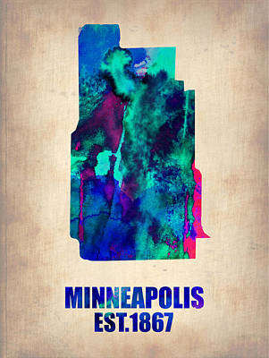Minnesota Painting - Minneapolis Watercolor Map by Naxart Studio