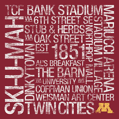 Replay Photograph - Minnesota College Colors Subway Art by Replay Photos