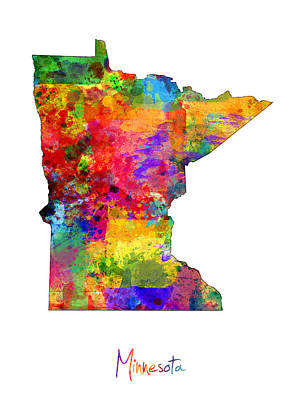 Minnesota Digital Art - Minnesota Map by Michael Tompsett