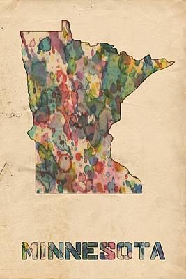 Paul Painting - Minnesota Map Vintage Watercolor by Florian Rodarte