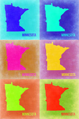 Minnesota Digital Art - Minnesota Pop Art Map 2 by Naxart Studio