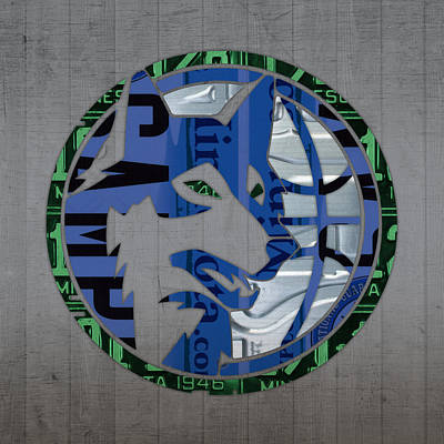 Team Mixed Media - Minnesota Timberwolves Basketball Team Retro Logo Vintage Recycled Minnesota License Plate Art by Design Turnpike