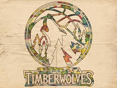 Nba Painting - Minnesota Timberwolves Retro Poster by Florian Rodarte