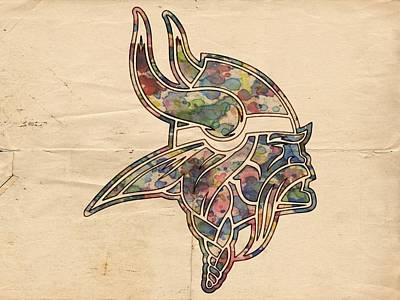 Minnesota Vikings Poster Vintage Print by Florian Rodarte