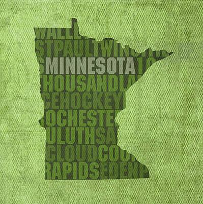 Minnesota Mixed Media - Minnesota Word Art State Map On Canvas by Design Turnpike