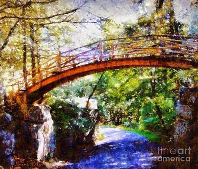 Minnewaska Wooden Bridge Print by Janine Riley