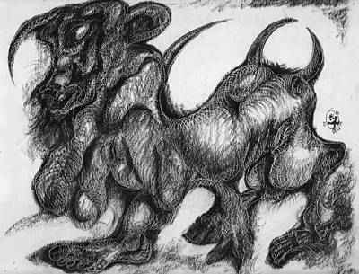 Minotaur Drawing - Minotaur by Ion vincent DAnu